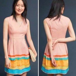 Anthropologie Tracy Reese Painterly Pleated Dress